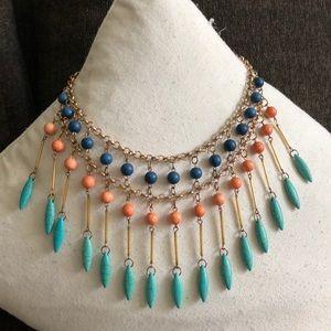 Gold gemstone statement necklace
